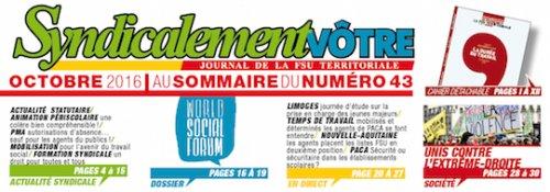 2e6ecbcdbfa Au sommaire du Syndicalement Vôtre n° 43 - Le SNUTER-FSU La FSU ...